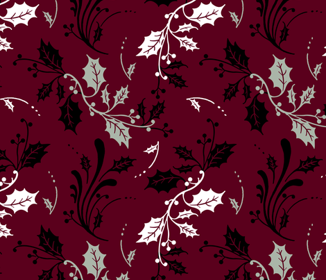 elegant winter holly fabric by grafixmom on Spoonflower - custom fabric