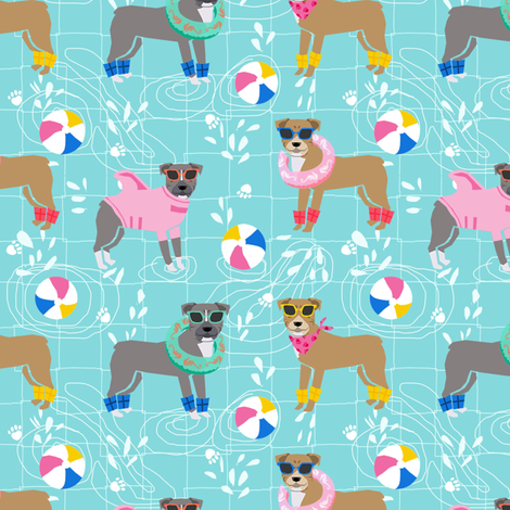 pitbull pool party pink dog breed fabric light blue fabric by petfriendly on Spoonflower - custom fabric