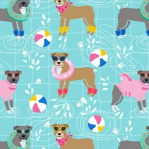 pitbull pool party pink dog breed fabric light blue