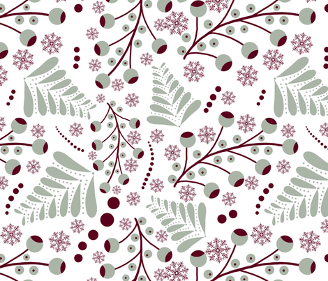 christmas berries fabric by lavendermintgraphics on Spoonflower - custom fabric