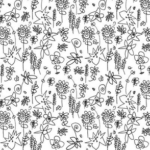 Flowers by Five in Black and While