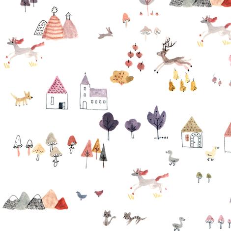 big village fertig fabric by gomboc on Spoonflower - custom fabric