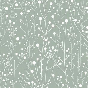 White Winterberries Silhouette