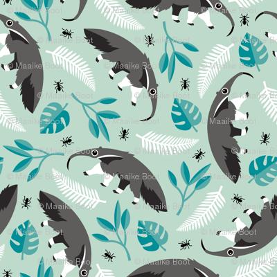 Cool anteater desert adventure jungle theme with botanical details for kids blue gray boys