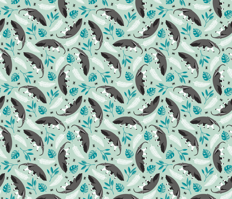 Cool anteater desert adventure jungle theme with botanical details for kids blue gray boys fabric by littlesmilemakers on Spoonflower - custom fabric