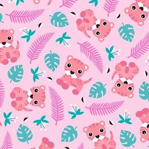 Little jungle tiger botanical leaves and summer jungle baby pink girls