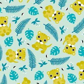 Little jungle tiger botanical leaves and summer jungle baby blue mustard yellow