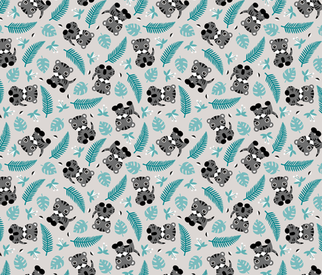 Little jungle tiger botanical leaves and summer jungle baby blue gray boys fabric by littlesmilemakers on Spoonflower - custom fabric