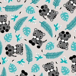 Little jungle tiger botanical leaves and summer jungle baby blue gray boys