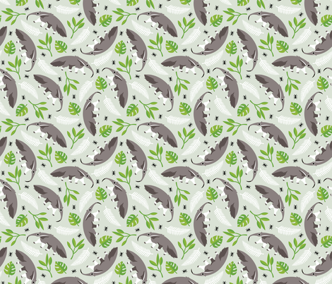 Cool anteater desert adventure jungle theme with botanical details for kids gender neutral green fabric by littlesmilemakers on Spoonflower - custom fabric