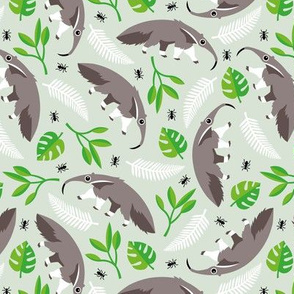 Cool anteater desert adventure jungle theme with botanical details for kids gender neutral green