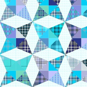 Plaid Kaleidoscope Stars Cheater with Blue and Purple