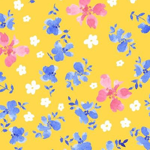 blue flower on yellow gold