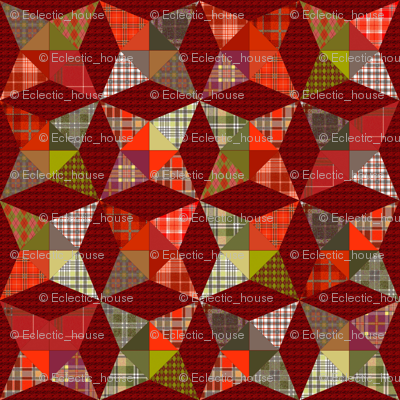 Christmas Plaid Kaleidoscope Stars Cheater with Red and Green
