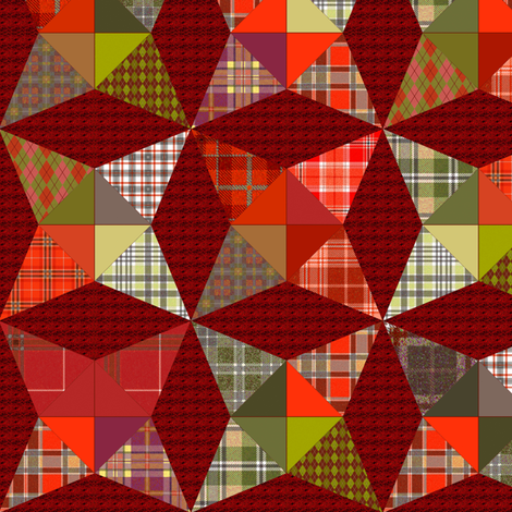 Christmas Plaid Kaleidoscope Stars Cheater with Red and Green fabric by eclectic_house on Spoonflower - custom fabric