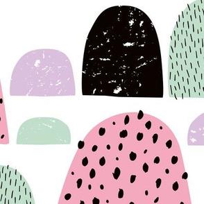 Abstract summer candy love minimal mountain goosebumps pink mint jumbo