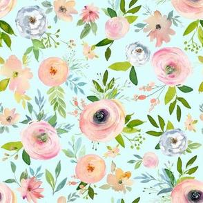 """8"""" Etheral Blooms - Aqua"""