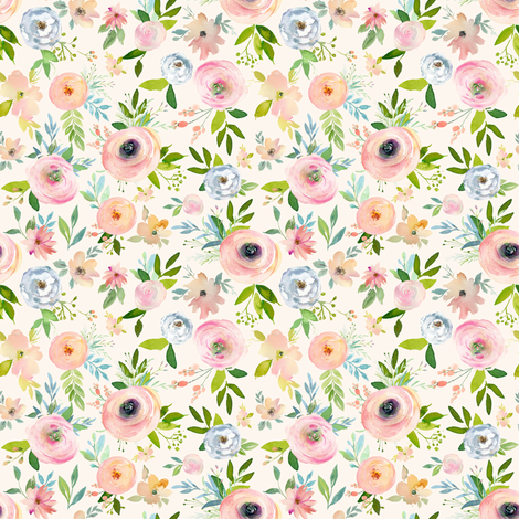 "4"" Etheral Blooms - Ivory fabric by shopcabin on Spoonflower - custom fabric"