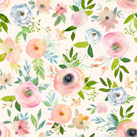 """8"""" Etheral Blooms - Ivory fabric by shopcabin on Spoonflower - custom fabric"""