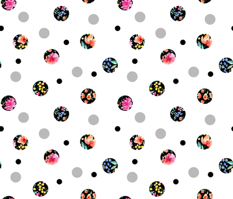 dots floral white ground fabric by paintedwind on Spoonflower - custom fabric