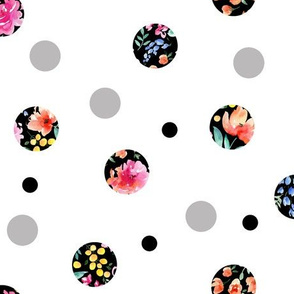 dots floral white ground