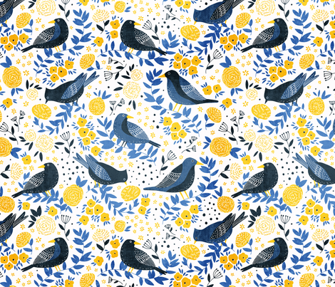 Bird Garden fabric by tatiabaurre on Spoonflower - custom fabric