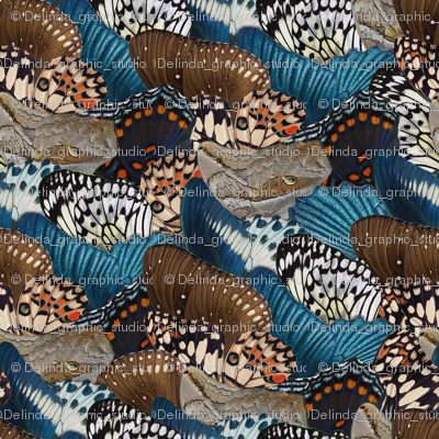 Butterfly Wings blue beige brown