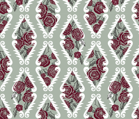 Holly, Swans, and Roses fabric by katyluxionart on Spoonflower - custom fabric