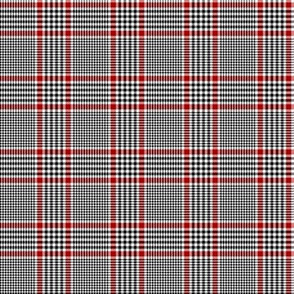 "Prince of Wales check #1, 2"" repeat, black/white/red"