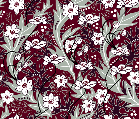 Winter Blooms Cranberry fabric by vinpauld on Spoonflower - custom fabric