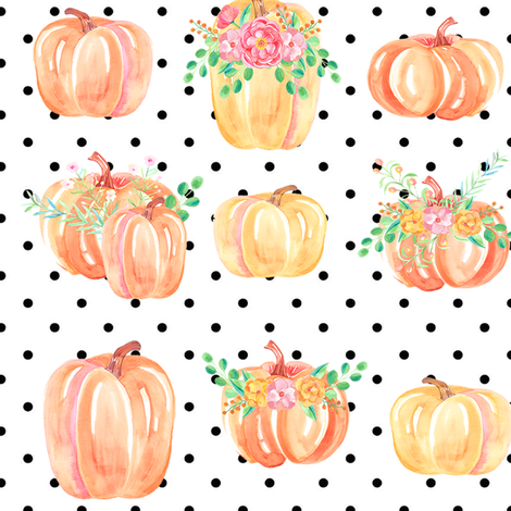 pumpkin party dots large fabric by brookiesdesigns on Spoonflower - custom fabric