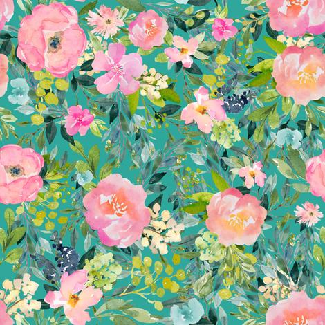 "8"" Pink Lemonade - Aqua fabric by shopcabin on Spoonflower - custom fabric"