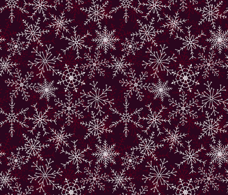 Elegant Snowflakes in Berry fabric by chipper_and_perk on Spoonflower - custom fabric
