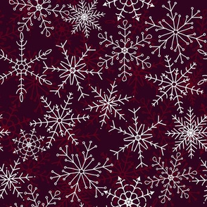 Elegant Snowflakes in Berry