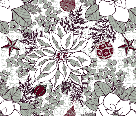 Elegant Holiday Blossoms, XL fabric by palifino on Spoonflower - custom fabric