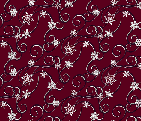 Snowflakes and Streamers fabric by fairytale_&_whimsy on Spoonflower - custom fabric