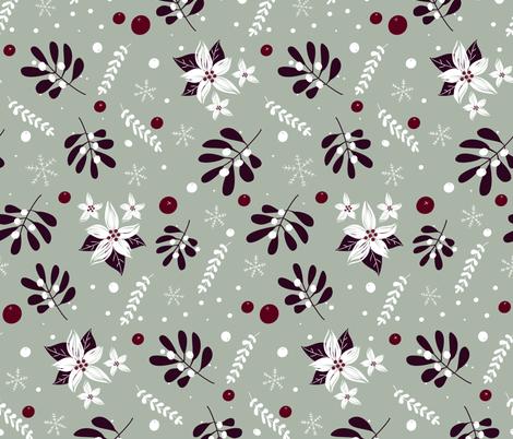Mistletoe & Poinsettia fabric by pixabo on Spoonflower - custom fabric