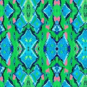 Abstract Art: Palette Knife green diamonds