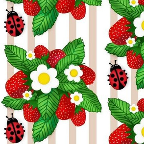 Summer Strawberries & Miss Ladybug on stripe