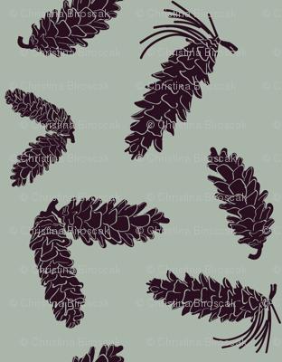 gathered pinecones