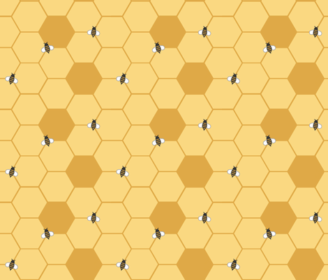 Gold Honeycomb (Small) fabric by dualsunsdesign on Spoonflower - custom fabric