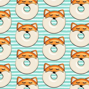 fox donuts on aqua stripes