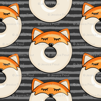 fox donuts on grey stripes