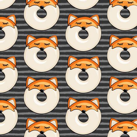 fox donuts on grey stripes fabric by littlearrowdesign on Spoonflower - custom fabric