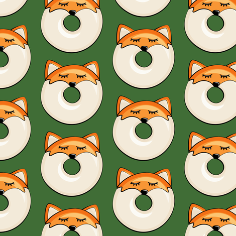 fox donuts on pine fabric by littlearrowdesign on Spoonflower - custom fabric