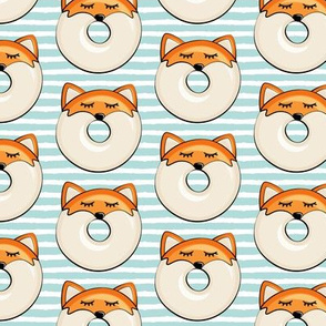 fox donuts on light blue stripes