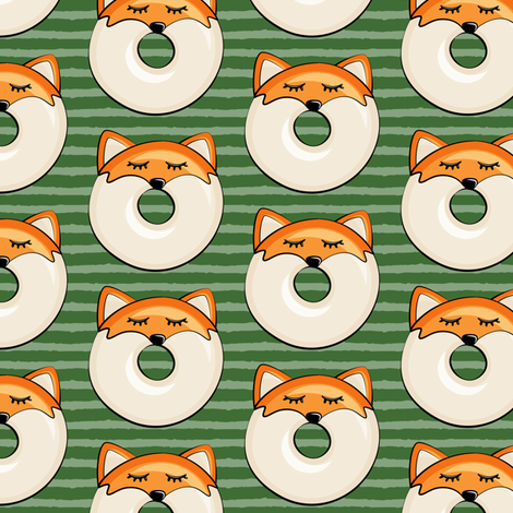 fox donuts on pine stripes fabric by littlearrowdesign on Spoonflower - custom fabric