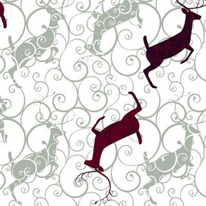 Elegant Holiday Christmas Reindeer Grey