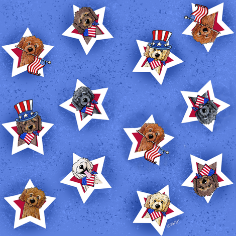 Star Spangled Doodles fabric by kiniart on Spoonflower - custom fabric