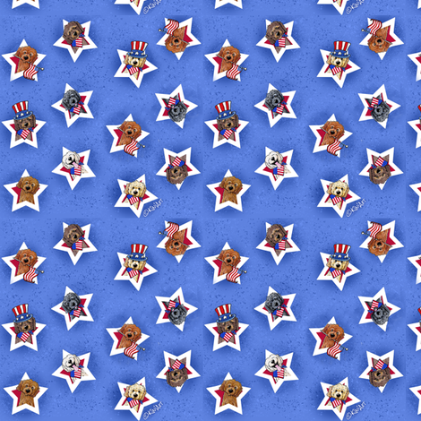 Star Spangled Doodles SMALL fabric by kiniart on Spoonflower - custom fabric